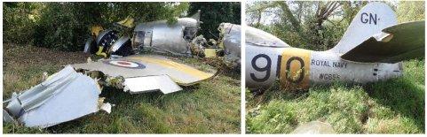 SKADE: Flyet stoppet omsider i et tre, men pådro seg betydelige skader under landingen. Både pilot og passasjer kom unna flyulykken med lettere skader.