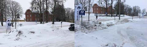 RYDDET BORT SNØEN: Handikapplassene utenfor Ås kvartal var fulle av brøytesnø. Nå har entreprenøren ryddet bort snøen.