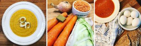 BILLIG OG BRA: Grønnsaksuppe med linser, råvarene til denne og en tomatsuppe med egg og hjemmebakt brød metter mange.