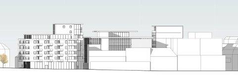 Storgata: Slik tenker eiendomsselskapet Micasa seg en utbygging sentralt i Sandefjord sentrum. Tegningen viser fasadene mot Storgata. Tegning: LPO Arkitekter