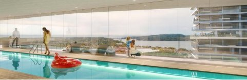 Basseng: Link Arkitektur ser for seg at høyblokka kan få basseng med utsikt til Mossesundet og Oslofjorden.