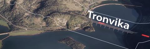 HØYERE OPP?: Hovedplanen er tunnel helt fra Tronvika til krysset vest for Haukelands Moen på Moi. For å spare 350 til 500 mill. kan veien legges i høyere bro over Tronvika og mer i dagen forbi Lindland og Audeland før den går i tunnel i fjellet bak Moi sentrum og Haukeland.