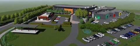 OMRÅDET: McDonald's-restauranten til venstre, Uno-X foran og planlagte bilrelaterte virksomheter og Plantasjens kjedekontor i den store bygningsmassen bak. (Illustrasjon: McDonald's Norge)