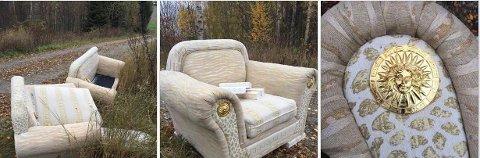 STILIKONER: Det er, eller var en skikkelig eksklusiv sofagruppe, med flotte detaljer og solgud emblemer i gull.