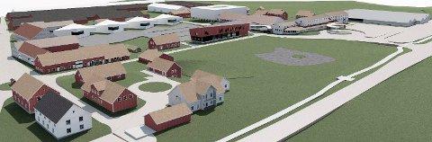 UTVIKLING:  Tegningen viser mulige fremtidige bygg – markert i hvitt. Full utnyttelse veksthusareal er ikke med. (Illustrasjon: Spir Arkitekter)