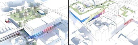 VERDIER: Skien Venstre mener rådmannen bør gjøre en tilsvarende vurdering av økonomiske forhold for kommunens tomt i Kulturkvartalet, som i Meierikvartalet. Bildet til venstre viser hvordan Ibsenbiblioteket kan bli i Kulturkvartalet.
