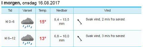 Yr melder om store nedbørsmengder i Kongsvinger natt til onsdag.