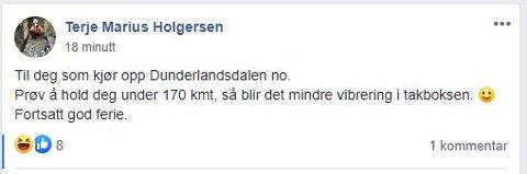 HØY FART: Terje Marius Holgersen overdrev nok farten noe, men poenget hans kommer tydelig fram.