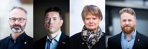 SPENTE: Lillestrøm-ordfører Jørgen Vik, Rælingen-ordfører Ståle Grøtte, Lørenskog-ordfører Ragnhild Bergheim og Ullensaker-ordfører Eyvind J. Schumacher skal i flere møter i løpet av uka for å finne ut hvordan reglene vil være framover.