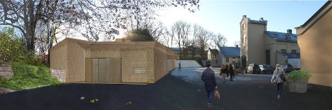 Slik skal den nye logistikkbygningen ved Slottet se ut når den står ferdig.