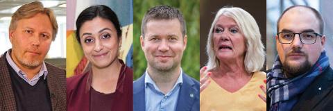 TRØNDERDEBATTANTER:Fra venstre: Skjalg Fjellheim (politisk redaktør i Nordlys), Hadia Tajik (nestleder i Ap), Geir Pollestad (Sp, leder av Stortingets næringskomité), Kristin Clemet (leder for Civita) og Erik Waatland (redaktør i Medier24).