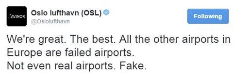 ANGRER: OSL trakk denne Twitter-meldinga etter kort tid. SKJERMDUMP: TWITTER