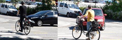 HVA GJØR DU?: Mange sykler over gangfeltet, mens andre triller. Foto: Tom Erik Rønningen