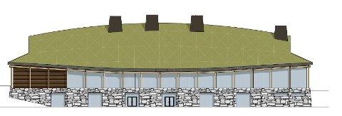 Det nye langhuset: Slik skal bygget se ut. Det har flere trekk fra gårdshuset som ble funnet ved Missingen i 2003-4. (Illustrasjon: Råde kommune/BAS Arkitekter)