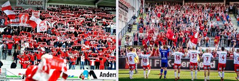 Det er bestemt at FFKs supportere fra kommende sesong skal tilbake på sitt gamle felt fra 2007 til 2015 på Elvesiden (til venstre), men Supras Fredrikstad ønsker å blir på Sørsia (til høyre).
