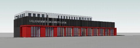 Tegning av den nye brannstasjonen i Lillehammer, sett fra Gudbrandsdalsvegen.