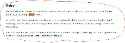 Unngå fritidsreiser: Faksimile frå regjeringa sine nettsider regjeringa.no.