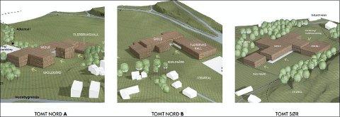 TRE FORSLAG: Disse tre tomtene, to i nord og én i sør, alle med Kariåsen Idrettspark som nabo, legges nå ut til høring, som del av Planprogram, Mulighetsstudie og Mobilitetsplan. (Illustrasjon: Sted Arkitektur)