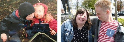 Før og nå: Andre Helland og Frida Moe Larsen da de gikk i barnehagen sammen, og på daten nå på fredag.