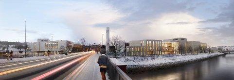 KULTURHUSET: Slik kan Steinkjer sentrum se ut i 2023, når det nye kulturhuset skal stå ferdig.