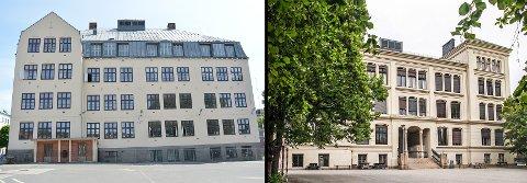 TO SKOLER: – Vi mener at det ikke skal bygges noe 1 til 10-skole på Os-tomten, men at Rødsberg ungdomsskole opprettholdes, og at det bygges en barneskole på Os. Her vil det kunne spares mange titalls millioner, skriver Per Kristian Dahl. Bildemontasjen viser Os skole (t.v.) og Rødsberg ungdomsskole til høyre.