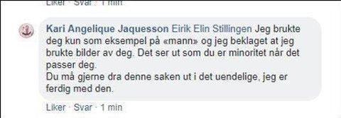 Kari Jaquesson beklaget at hun la ut bilder av Stillingen.