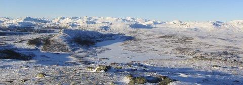Herleg utsyn: Frå toppen av Kjølafjellet (1225 m) mot Sør-Jotunheimen. Frå Bitihødn (t.v.), så blant anna Galdeberg, Torfinnstinden, Kalvehøgdene, Rasletind, Tjørnholstinden, Surtningssue (bak), Besshøe og Gråhøe (t.h.).