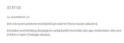 Mandag ettermiddag er det problemer med BankID på mobil for Telenor-kunder.