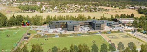Fremskrittspartiet ble stående alene i formannskapet om å ta omkamp for skoleprosjektet på Elvetangen (Illustrasjon: Lille Frøen AS og Backe Oppland AS).
