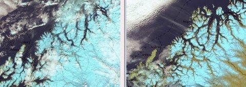 FORSKJELL: Satelittfotoet til venstre er fra 19.mai i år, hvor vi ser snøen dekke hele Troms. Til høyre er tilsvarende satelittfoto fra 19.mai i fjor, hvor det er snøfritt i store områder ved kysten og i lavereliggende strøk.