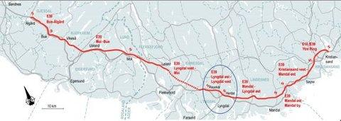 Kontrakten E39 Lyngdal øst - Lyngdal inngår i Nye Veiers oppdrag med helhetlig utbygging av ny, trafikksikker E39 mellom Kristiansand og Ålgård.