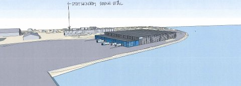 DET NYE SUPERLAGERET: Slik skal det se ut, det nye gigantlageret som Borg Havn skal sette opp og Borregaard skal bruke på Øra.