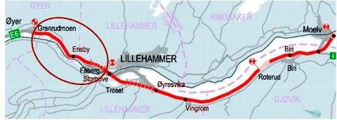 Kart over Nye Veiers prosjekt Moelv-Lillehammer-Øyer sør. Rød sirkel markerer Storhove-Øyer, hvor planarbeidet er i full gang.