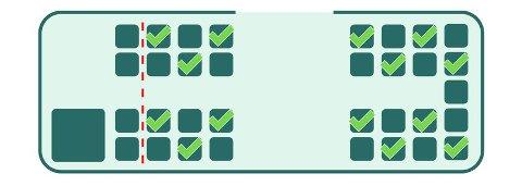 Mønster: Det er et anbefalt mønster på hvordan du skal sitte på skolebussen framover.