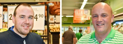 Kjøpmennene Ole Kristian Fjeldstad Hage (t.v.) og Paal Christian Svendsen kjemper en tøff kamp om dagligvarekundene i Høland. Arkivfoto: Øyvind Henningsen