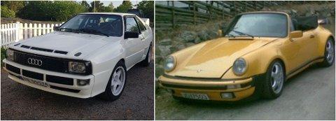 STJÅLET: Disse bilene, en 81-modell Audi Quattro og en Porsche Targa 1968-modell, ble natt til torsdag stjålet fra en garasje i Sørumsand.