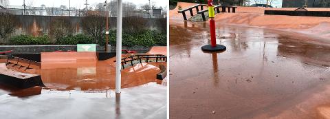 På dager med høy vannstand kan det bli utfordrende å få ut vannet av skateparken.