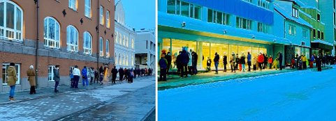 Køa slynger seg rundt flere kvartal i Tromsø. Foto: Marte Hotvedt.