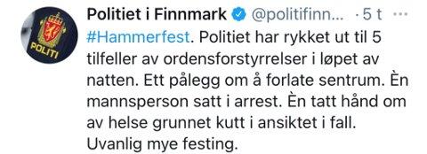 MANGE MELDINGER: Politiet sin Twitter-konto i Finnmark gikk nesten tom for blekk natt til søndag.