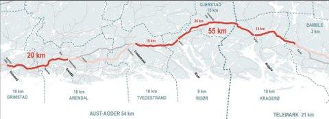 75 KILOMETER: Det mangler 75 kilometer motorvei mellom Dørdal og Grimstad. Interkommunalt samarbeid skal gi raskere planlegging. KART: NYE VEIER