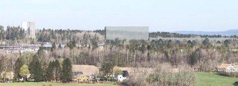 FOTOMONTASJE: Den høyeste delen av distribusjonslageret til Megaflis kommer til å ruve, men blir lavere enn høydebassenget lt.v. (Illustrasjon: Format Eiendom)