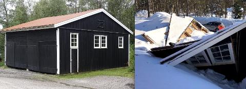 Den gamle garasjen flatet helt ut på grunn av store snømengder. Nå er Riksantikvaren koblet inn for å vurdere om det skal bygges en ny «gammel garasje» på stedet.