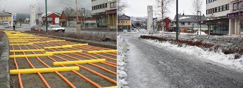 I 2006 ble det lagt ned flere tusen meter varmekabler i Storgata Fauske sentrum. Dette skulle sørge for is- og snøfrie fortau. I 2020 ser det slik ut. Foto: Arkiv/Christian Unosen