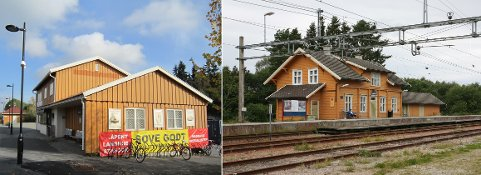 SYKKELHOTELL?: Ski kommune har fått støtte til å bygge sykkelhotell ved Langhus stasjon (til venste) og Kråkstad stasjon.