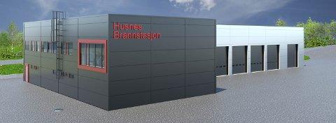 Digital skisse av ny hovudbrannstasjon på Husnes.