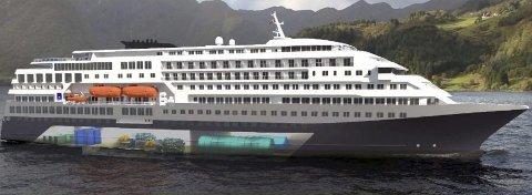 """Miljøskip: Skipsdesignerne LMG Marin og gasselskapet Gasnor er i gang med å utvikle nytt konsept for framdrift av framtidens """"hurtigruteskip"""" og gjennom det skape verdens mest miljøvennlige kystrute. Illustrasjon: Gasnor"""