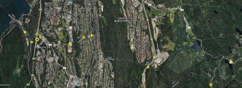 TETT I TETT: Alle smutthull mellom Follo og Oslo skal være tettet med bomstasjoner den dagen Oslopakke 3 gjennomføres i mars 2019. Gule ringer på kartet er foreslåtte bommer.