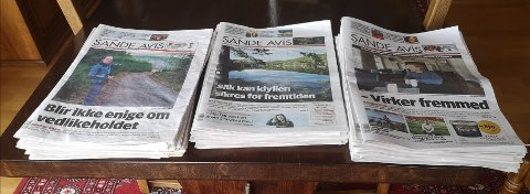 ØKNING: Sande Avis er den eneste av i alt 14 Amedia-aviser i gamle Vestfold og Buskerud som har fått flere lesere på papir det siste året.