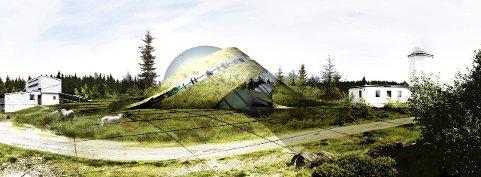 I SENTRUM: Slik ser Snøhetta for seg at planetariet med plass til 200 mennesker, restaurant, utstilling og butikk kan plasseres i terrenget. I tillegg planlegges det ni «planethytter» rundt om på området til overnattingsgjester. Illustrasjon: Snøhetta