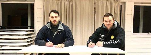Fabian Hovland til venstre i bilde er klubbens nye hovedtrener de neste to årene.
